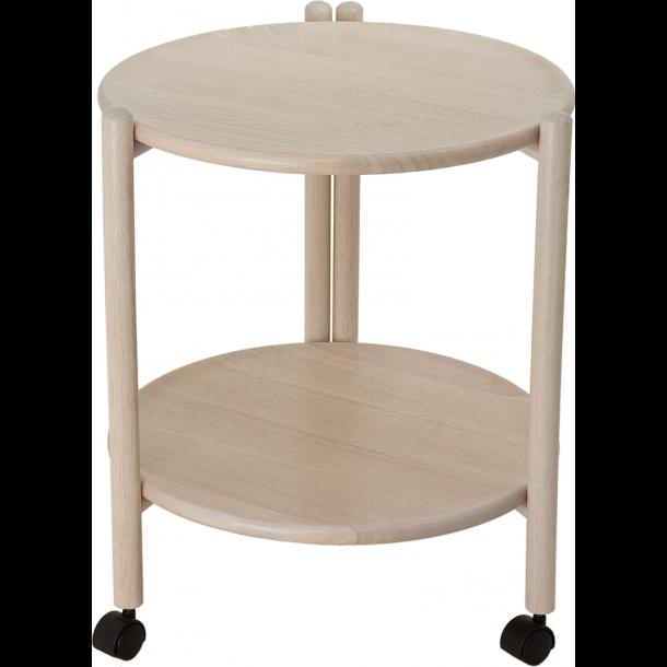 Bakkebord / rullebord i hvidpigmenteret parawood Ø47 H 52