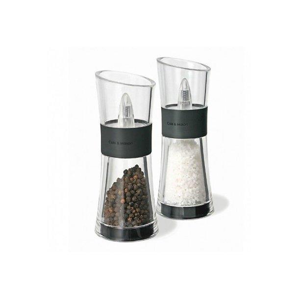 Cole & Mason Flip salt- og pebersæt i rustfri stål og akryl - 180 mm