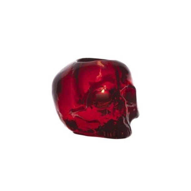Kosta Boda Still Life Skull fyrfadsstage - rød