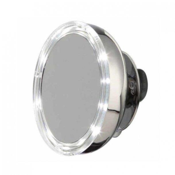Möve Makeup spejl i rustfri stål - væghængt, med lys, sugekop - 5x