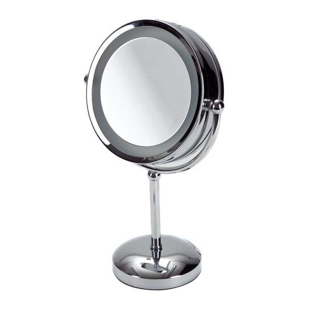 Möve Makeup spejl i rustfri stål - stående med lys - 5 x forstørrelse