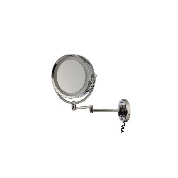 Möve Makeup spejl i rustfri stål - væghængt med lys - 5 x