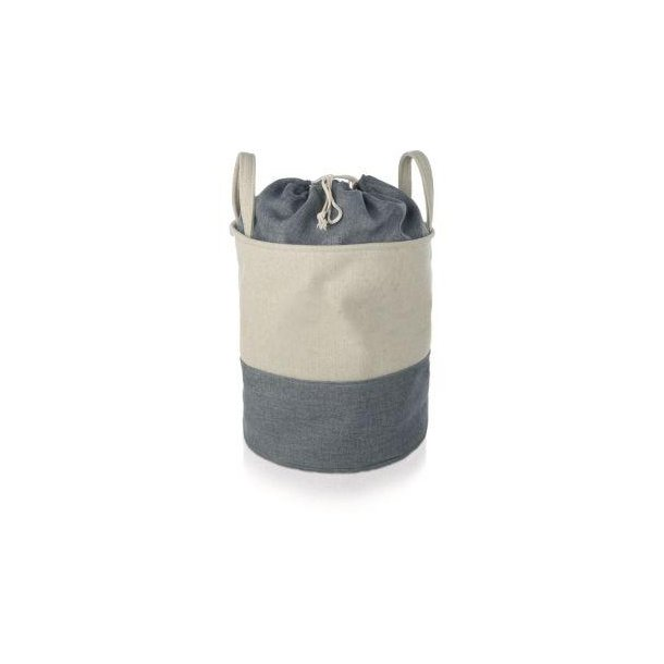 Möve Vasketøjssæk / vasketøjskurv i canvas - grå / offwhite