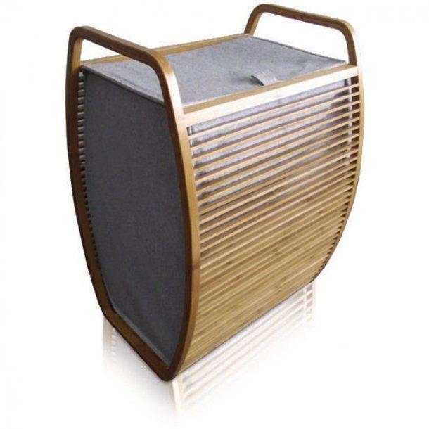 Möve Vasketøjekurv i bambus og canvas - buet