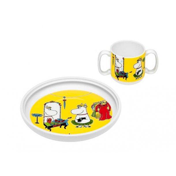 Arabia Mumi krus og tallerken, porcelæn - Mumi rollespil gul