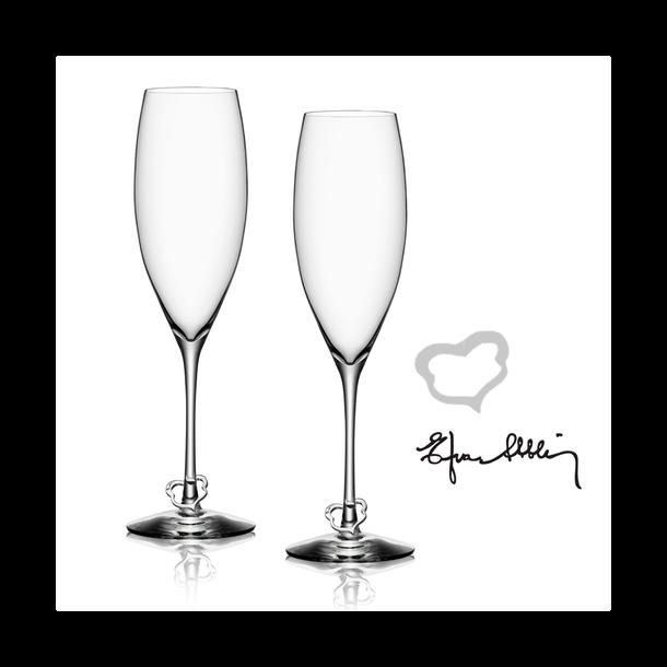 Orrefors Crazy Heart Champagneglas - 2 stk i gaveæske