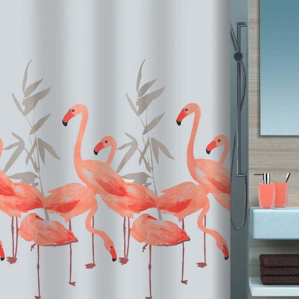 Spirella Flamingo Badeforhæng 180 x 200 cm - Salmon