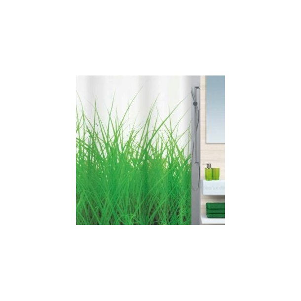Spirella Grass Badeforhæng i polyester 180 x 200 cm