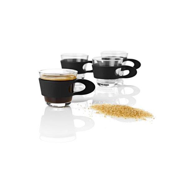 Stelton Easy Espresso Glas med sort hank - 4 stk i gaveæske.