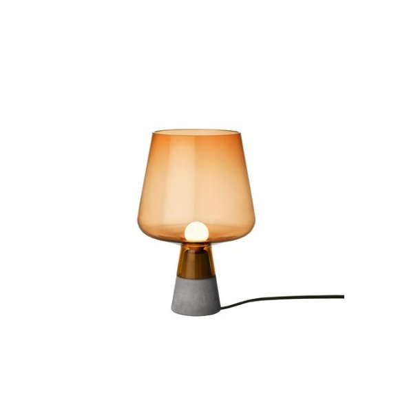 iittala Leimu Bordlampe, mundblæst glas og beton - lille kobber