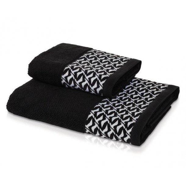 Möve Black & White Håndklæde - Sort - 2 størrelser