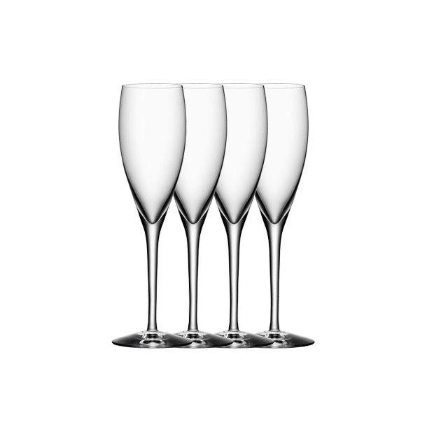 Orrefors More Champagneglas, 4 stk. i æske
