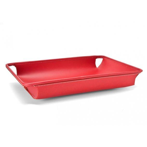 Ørskov Brevbakke Large, buet - rød læder hvide syninger