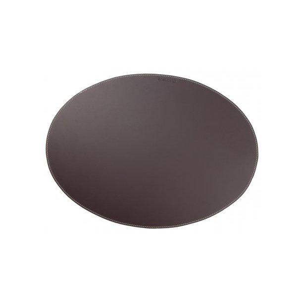Ørskov Dækkeserviet i ægte læder, Oval, 35 x 48 cm, Brun