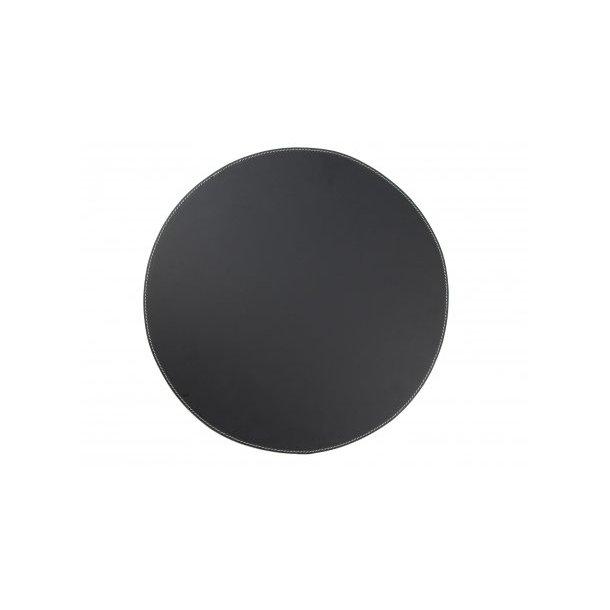 Ørskov Dækkeserviet i ægte læder, Rund, Ø 38 cm, Sort