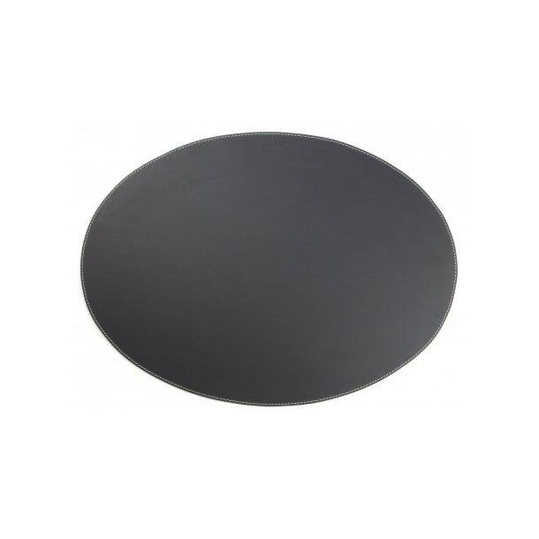 Ørskov Dækkeserviet i ægte læder, Oval, 35 x 48 cm, Sort