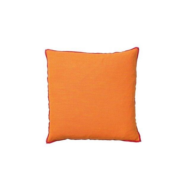 Södahl Contrast pyntepude 40x40cm, Orange m/ Hindbær kant-piping