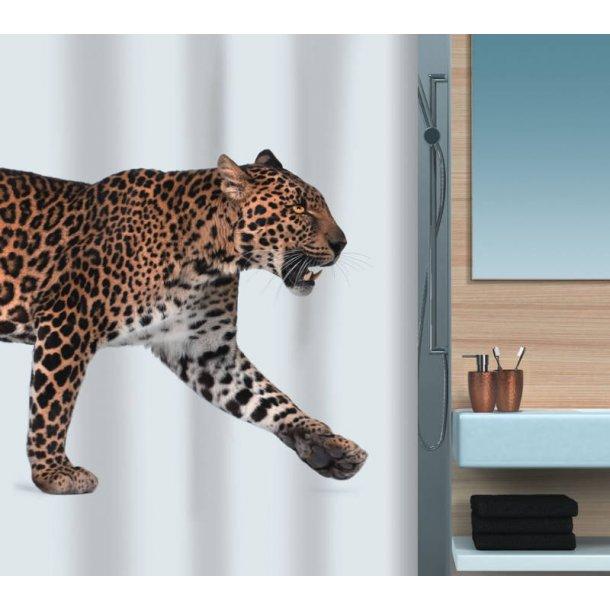 Spirella Leopard Badeforhæng antibakterielt 180 x 200 cm