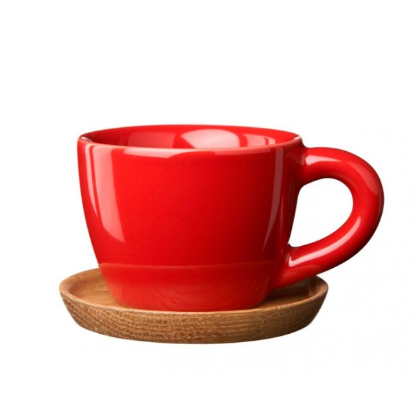 Höganäs Espressokop 10 cl i keramik med træbrik - mange farver