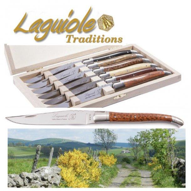 Laguiole Prestige Kniv, 6 stk i trææske - 7 varianter