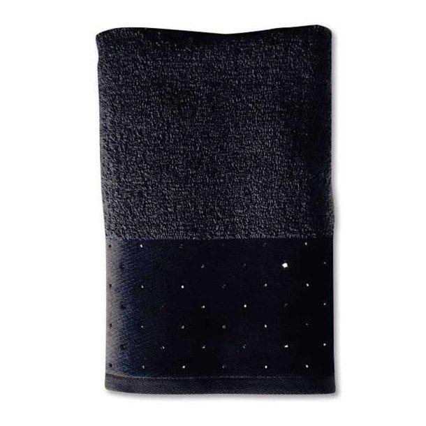 Möve Håndklæde i frotté - Swarovski all over - sort - 3 størrelser