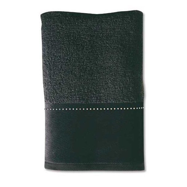 Möve Håndklæde i frotté - Swarovski linie - sort - 30 x50 cm