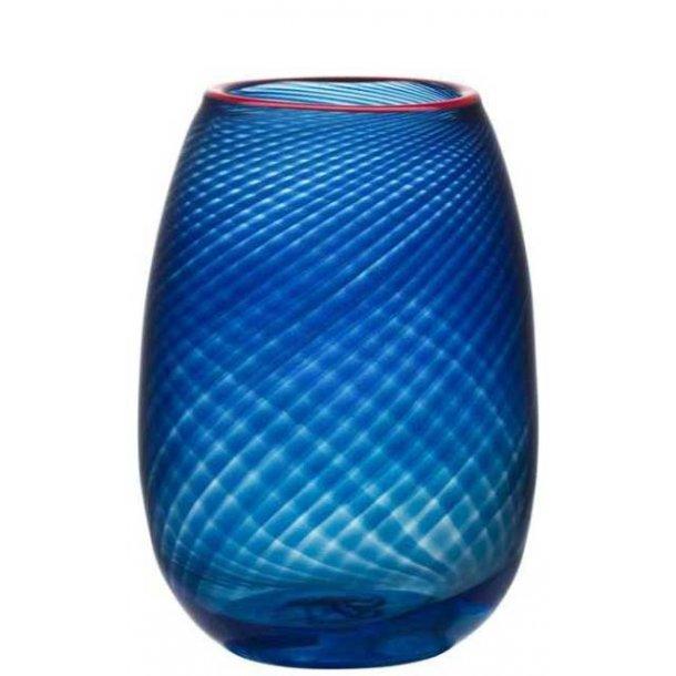 Kosta Boda Red Rim vase 245 mm i Orrefors krystal - blå