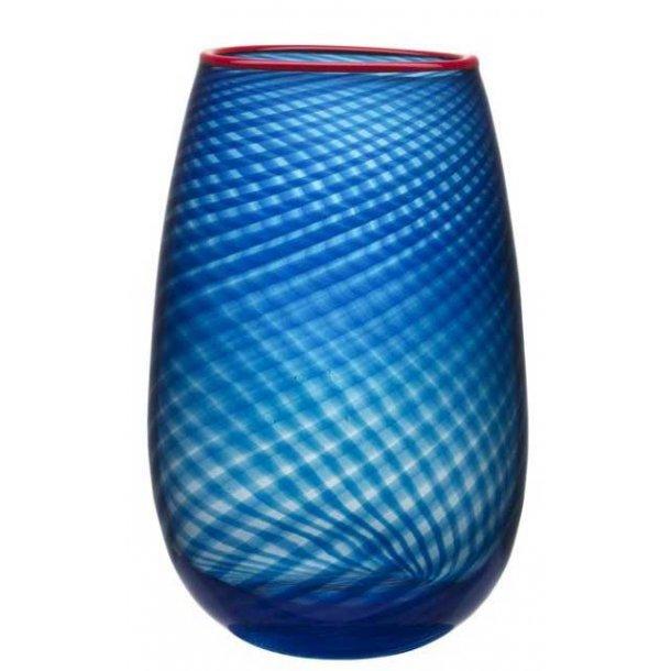 Kosta Boda Red Rim vase 320 mm i Orrefors krystal - blå