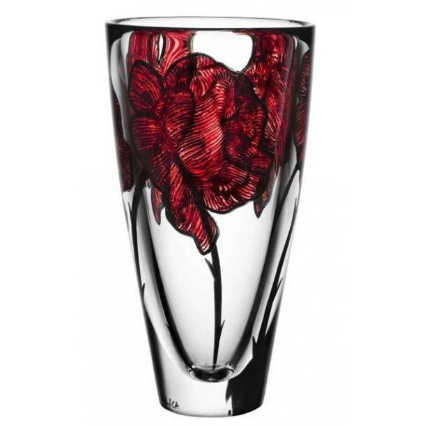 Kosta Boda Tattoo vase 255 mm i Orrefors krystal - klar / rød