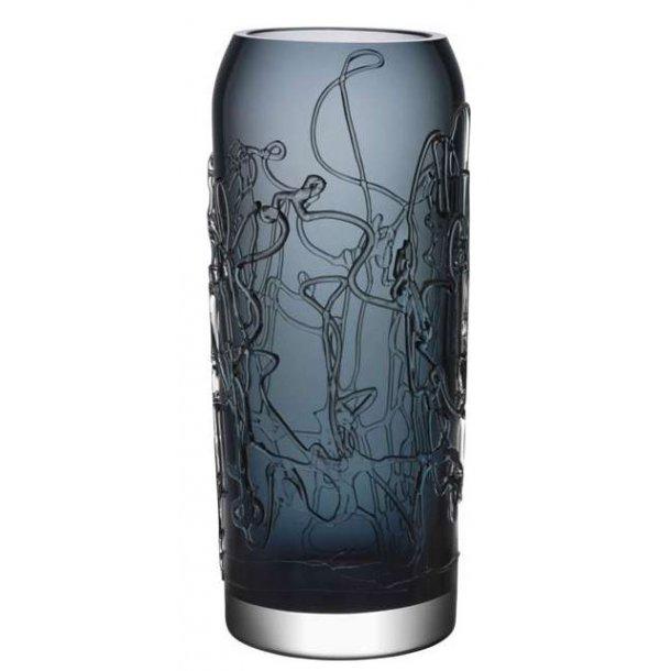 Kosta Boda Twine vase 400 mm i Orrefors krystal - grå