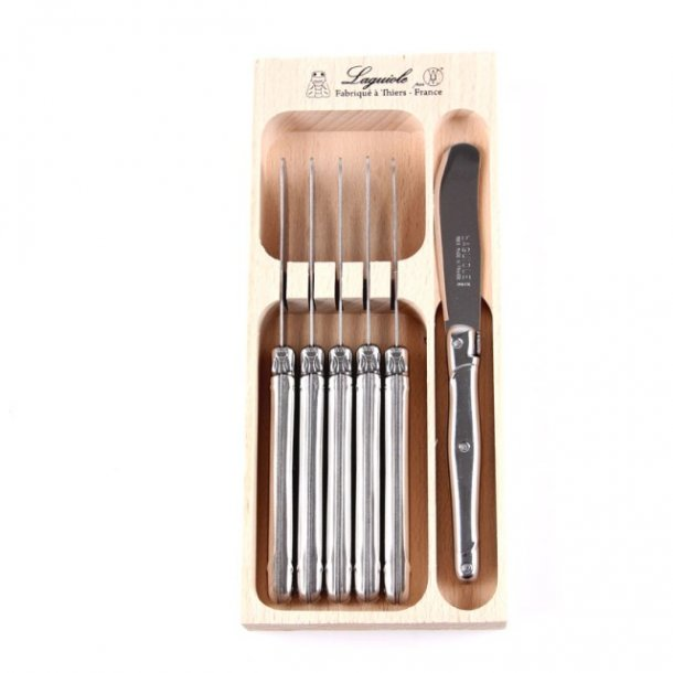 Laguiole Débutant Smørkniv, 6 stk. i trææske - Stainless Steel
