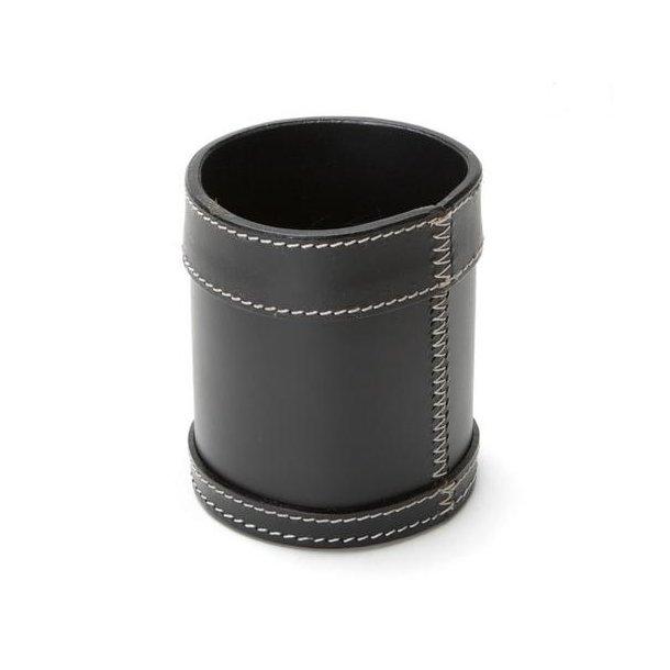 Ørskov Penneholder / Blyantsholder W - sort læder hvide syninger