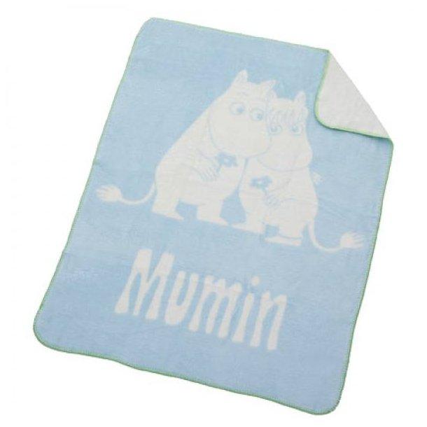 RättStart Mumi Babytæppe, Fleece, 75x100 cm - Lyseblå, grøn kant