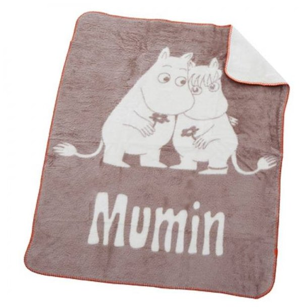 RättStart Mumi Babytæppe, Fleece, 75x100 cm - Cappuccino, rød kant