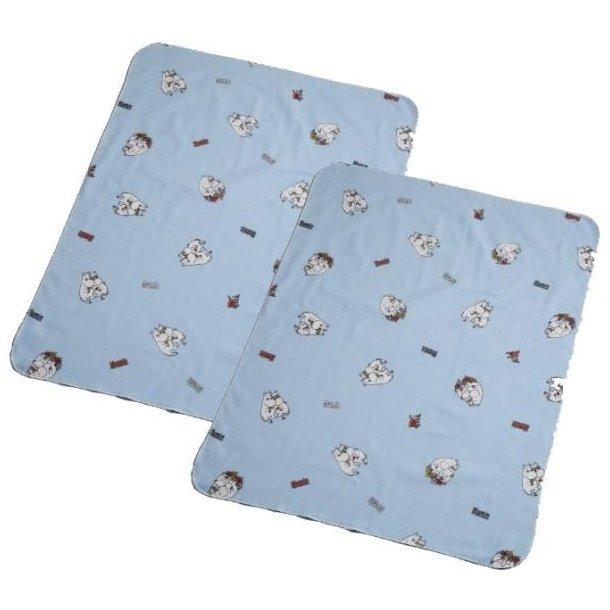 RättStart Mumi Nusseklud 2-pak 100% bomuld, 45x50 cm - Lyseblå