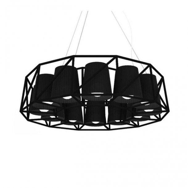 Seletti Multilampe Ring, 12 lamper - sort