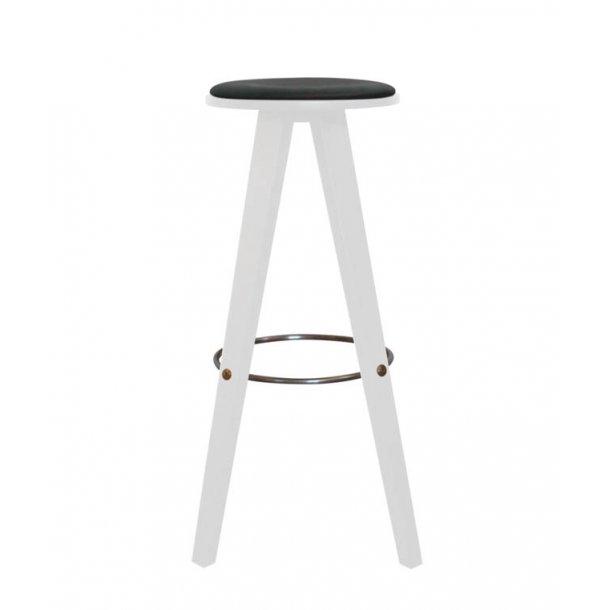 ShapingYourDay Viggo barstol i hvidt træ og sort læder - 76 cm