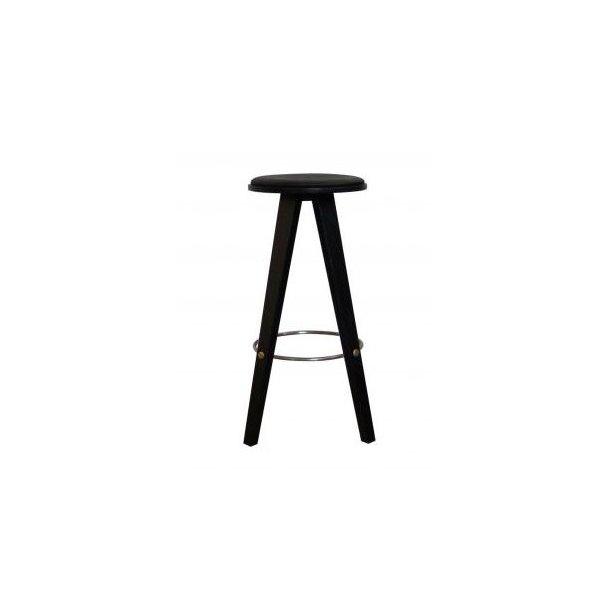 ShapingYourDay Viggo barstol i sort træ og sort læder - 76 cm