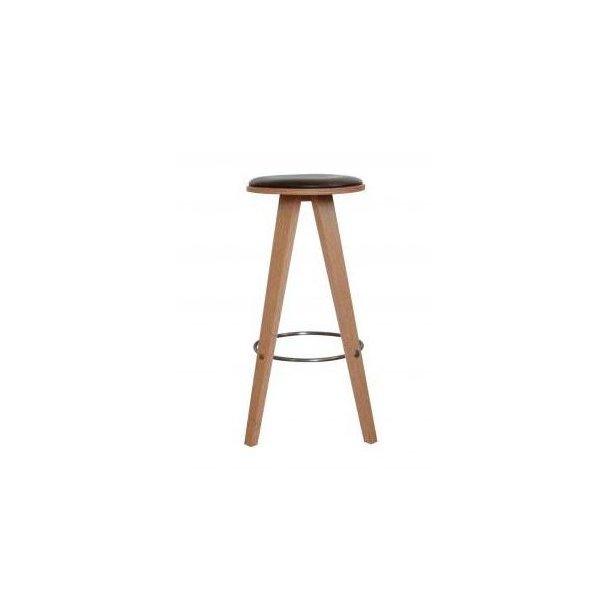 ShapingYourDay Viggo barstol i egetræ og brunt læder - 76 cm