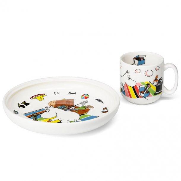 Arabia Mumi krus og tallerken, porcelæn - Mumitrold