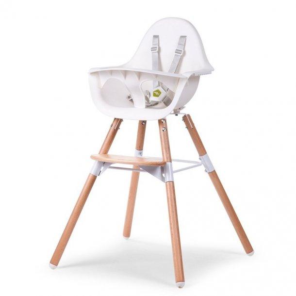 Childhome Evolu 2 i 1 højstol til baby, hvid med bøg