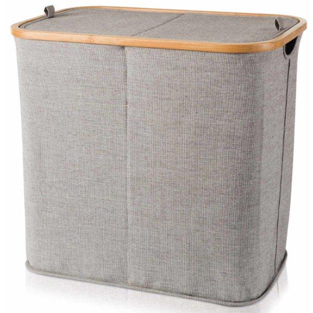 Möve Vasketøjekurv i bambus og canvas - todelt med låg