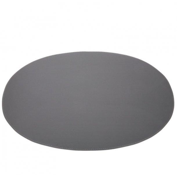 Ørskov Dækkeserviet i ægte læder, Oval, 35 x 48 cm, Grå