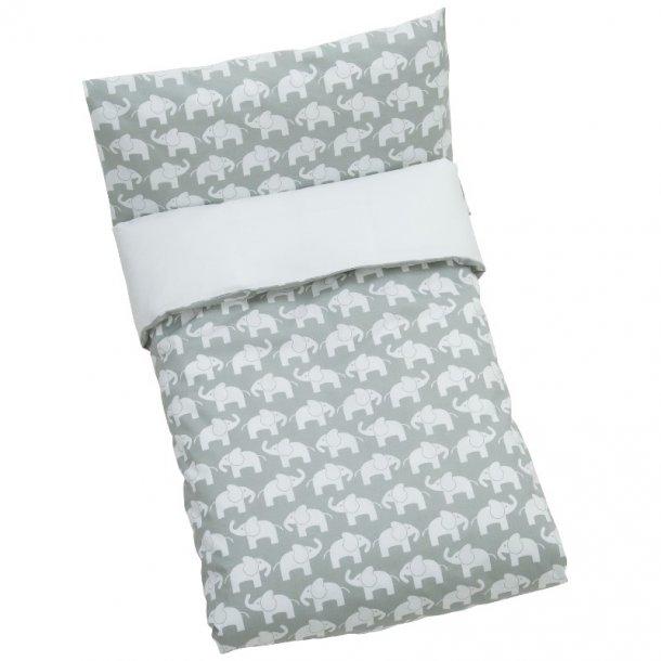 RättStart Junior-sengesæt Elefant, Øko GOTS 100 x 140 cm - grå