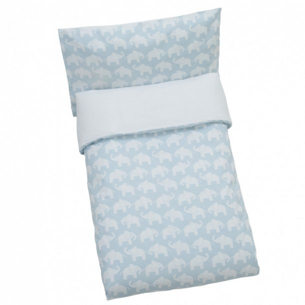 RättStart Elephant Junior sengetøj, Øko bomuld - 100 x 140 cm - Lyseblå