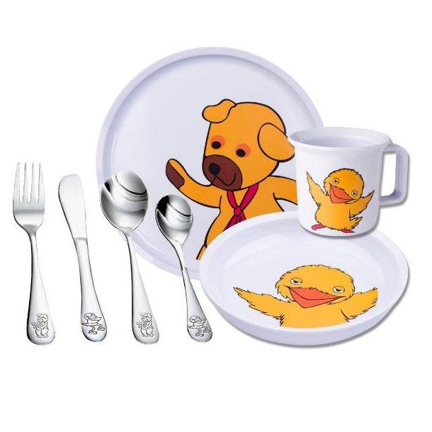 """NOA Børneservice med bestik """"Bamse og Kylling"""", melamin /stål 7 dele."""