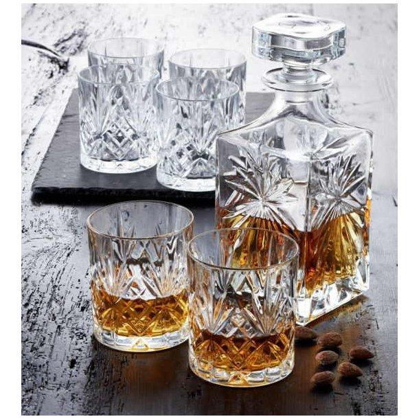 Lyngby Glas Melodia Whisky sæt, krystal karaffel og 6 glas