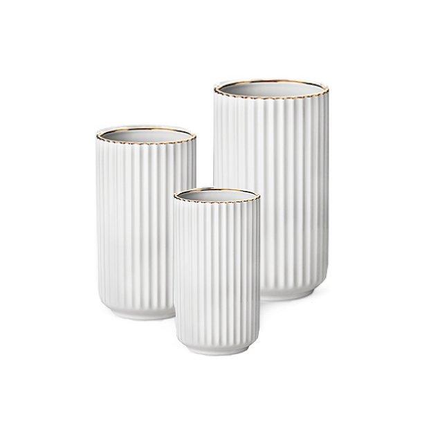 Lyngby Porcelæn Lyngbyvasen, porcelæn, hvid, guldkant - flere størrelser