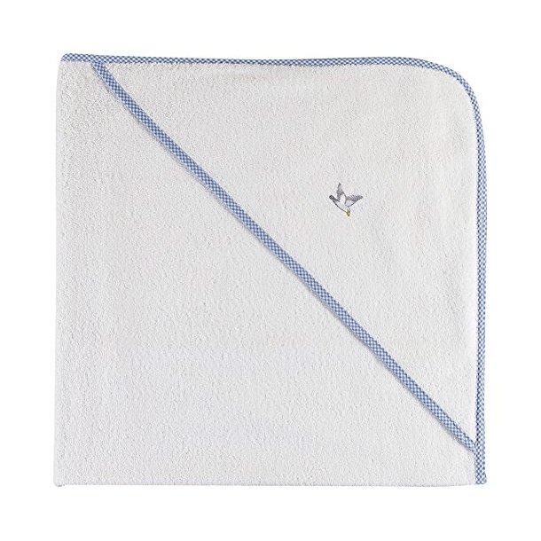 Möve Baby Badehåndklæde med hætte, 100% bomuld, Snow/Lysblå