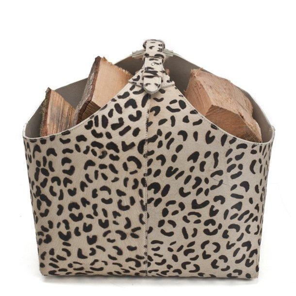 Ørskov Brændekurv - Sort Leopard - printet læder